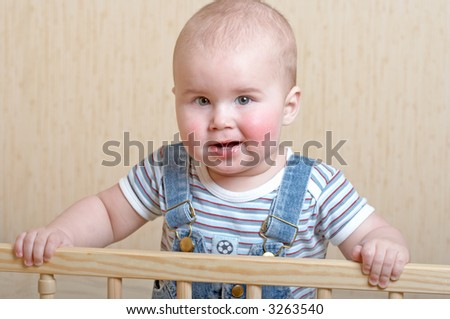 portrait of playful baby boy