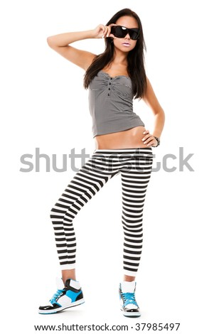 portrait of playful funny young woman isolated on white - stock photo