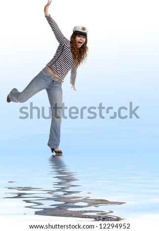 portrait of playful woman in navy striped shirt
