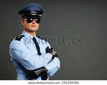 Portrait of policeman in sunglasses gray background - stock photo