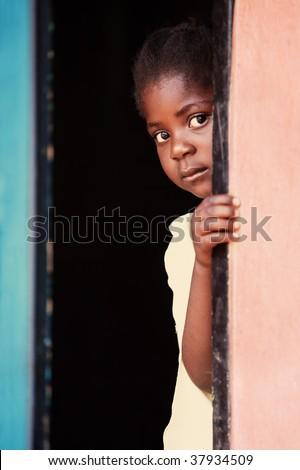 Portrait of poor African child, location Mmankodi village, Botswana - stock photo