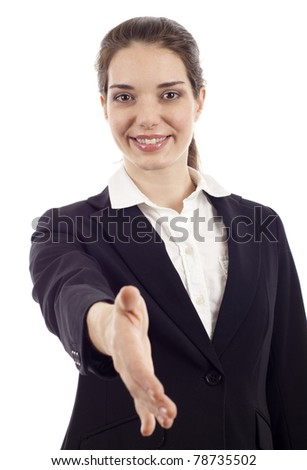 Portrait of positive business woman stretching her hand for a handshake isolated - stock photo