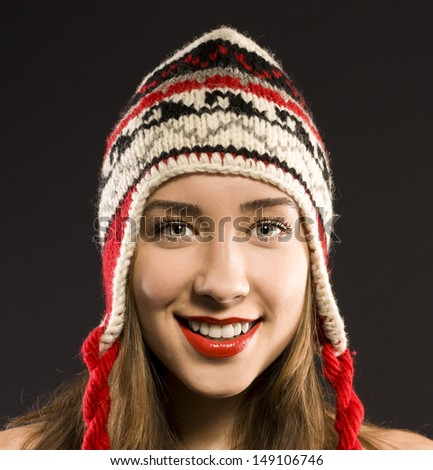 Portrait of positive girl. new year. happiness - stock photo