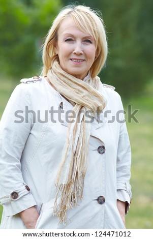 Portrait of positivity senior woman - stock photo
