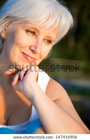 Portrait of positivity senior woman  - stock photo