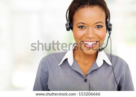 portrait of pretty african american call center operator - stock photo