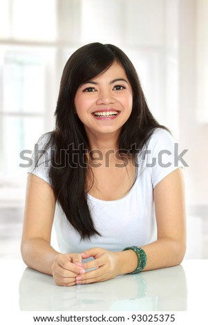 portrait of Pretty asian woman smiling - stock photo