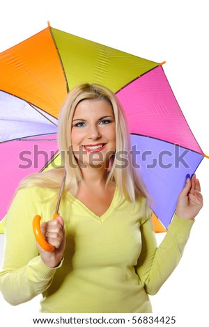 Portrait of pretty autumn woman standing under umbrella. white background