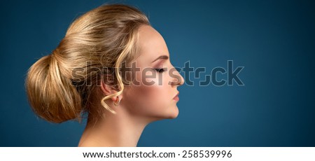 Portrait of pretty beautiful woman with healthy clear skin - stock photo