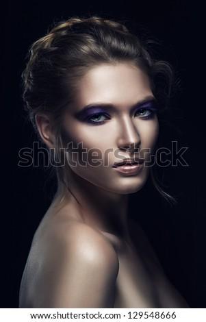 portrait of pretty blond woman - stock photo