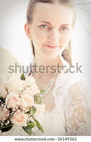 Portrait of pretty bride - stock photo