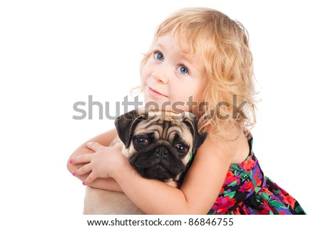 portrait of pretty girl hugging dog isolated on white background - stock photo