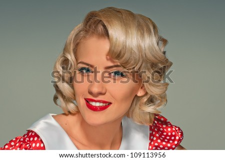 portrait of pretty girl in the retro style - stock photo