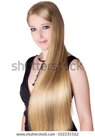 portrait of pretty girl with long hair isolated on white background - stock photo