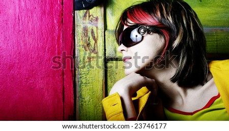 Portrait of pretty glamour girl - stock photo