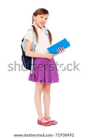 portrait of pretty schoolgirl reading book over white background - stock photo