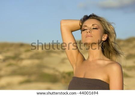portrait of pretty white women in summer landscape - stock photo