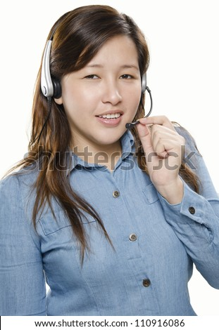 Portrait of pretty woman call center with headset - stock photo