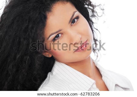 portrait of pretty woman with curly hair