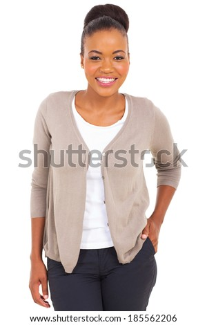 portrait of pretty young african businesswoman isolated on white - stock photo