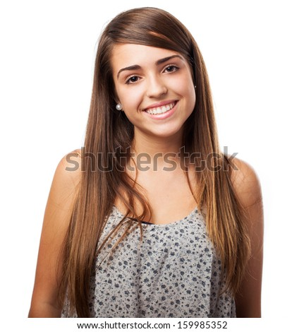portrait of pretty young woman isolated on white - stock photo