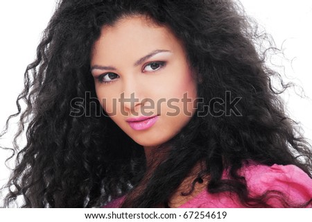 portrait of pretty young woman over white background