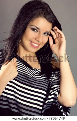 Portrait of pretty young woman  with lovely lips - stock photo