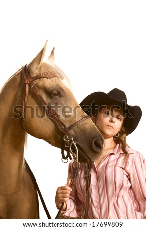 Portrait of ranch girl with her friendly horse - stock photo