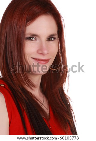 portrait of red hair caucasian woman, white background
