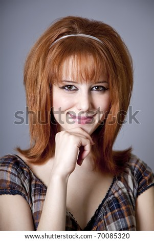 Portrait of red-haired girl. 60s style. - stock photo