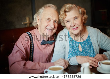Portrait of retired couple in smart clothes looking at camera in cafe - stock photo