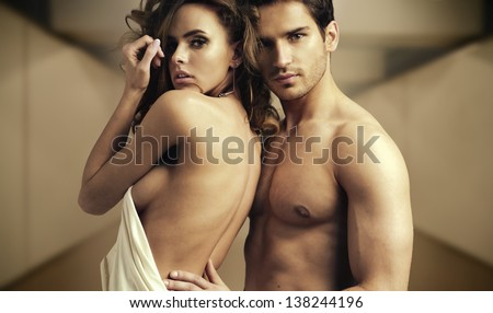 Portrait of romantic couple - stock photo
