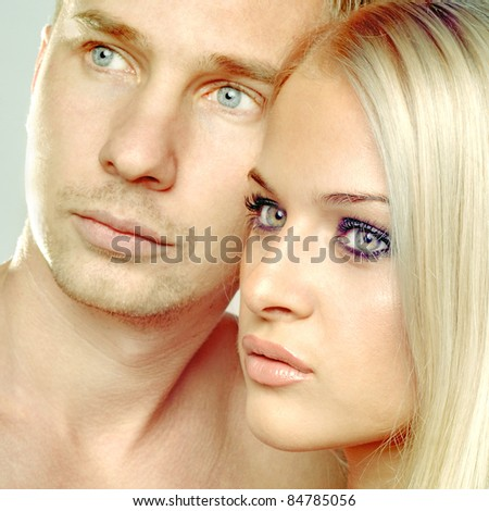 Portrait of romantic couple touching each other - stock photo