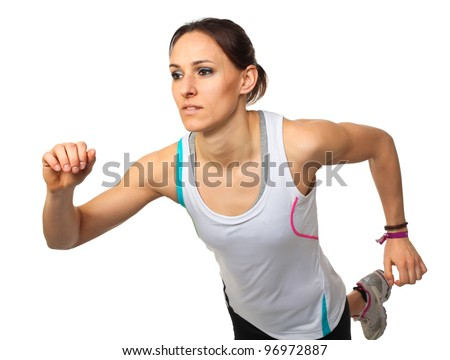 portrait of runner isolated on white background - stock photo