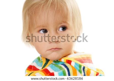 Portrait of sad baby boy isolated on white background - stock photo