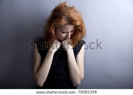 Portrait of sad girl in 80s style. - stock photo