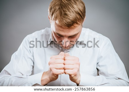 portrait of sad man - stock photo