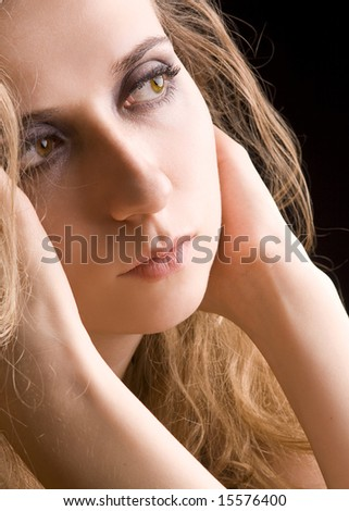 portrait of sad pensive woman - stock photo