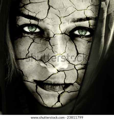 Portrait of Sad Woman with Cracked Face Skin - stock photo