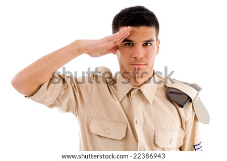 portrait of saluting soldier on an isolated white background - stock photo