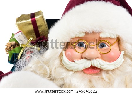 Portrait of Santa Claus face with presents isolated on white background - stock photo