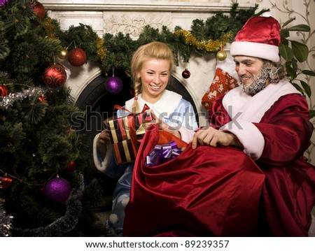 portrait of Santa Claus with Snow Maiden
