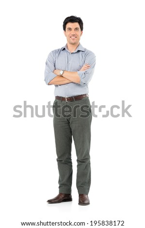 Portrait Of Satisfied Businessman Looking At Camera Isolated White Background - stock photo