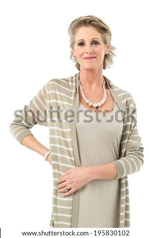 Portrait Of Satisfied Grandmother Looking At Camera Isolated On White Background - stock photo