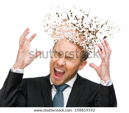 Portrait of scared and screaming businessman with hands up and head broken into pieces, isolated on white - stock photo