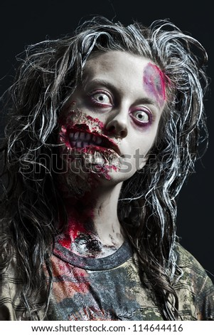 Portrait of scary girl, Halloween theme - stock photo
