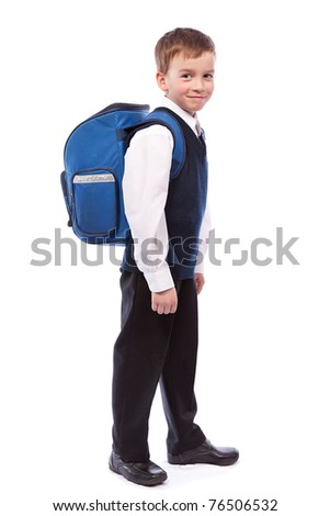 Portrait of  schoolboy with a briefcase, isolation - stock photo
