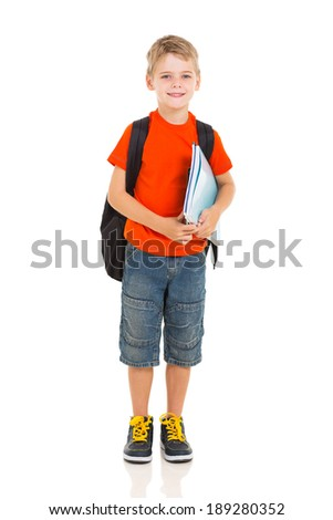 portrait of schoolboy with backpack isolated on white - stock photo