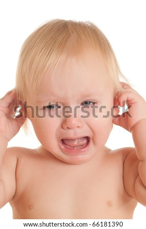 Portrait of screaming young sitting baby - stock photo