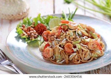 portrait of seafood pad thai for lunch - stock photo